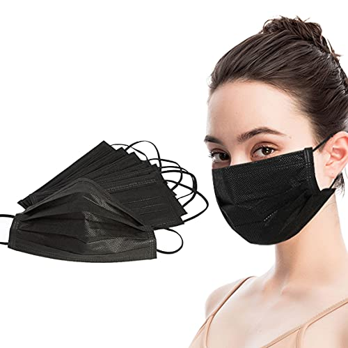 Wecolor 50 Pcs Disposable 3 Ply Earloop Face Masks, Suitable for Home, School, Office and Outdoors (Black)