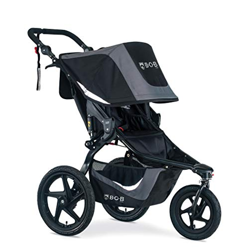 BOB Gear Revolution Flex 3.0 Jogging Stroller, Graphite Black | Smooth Ride Suspension + Easy Fold + Adjustable Handlebar [NEW LOGO]