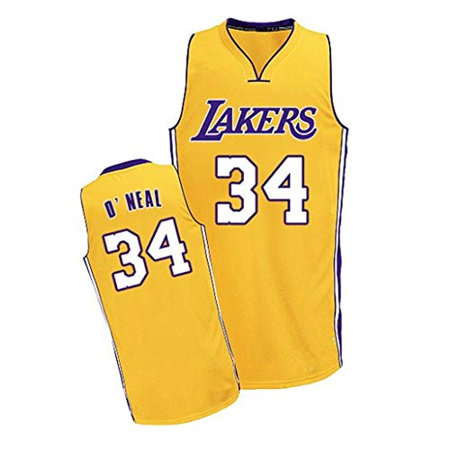 Auart Mens Jersey # 34 Shaquille O'Neal Los Angeles Lakers Unisex Maniche Traspirante secchezza rapido Pallacanestro Swingman Sportivo S-XXL (Size : M)