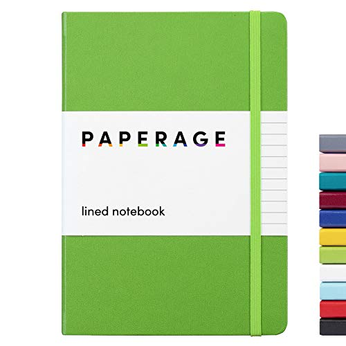 Paperage Lined Journal Notebook, Hard Cover, Medium 5.7 X 8 inches, 100 gsm Thick Paper. Use for Office, Home, School, or Business (Green, Ruled)