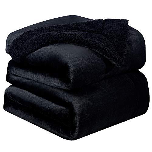 Bedsure sherpa deken fleece microvezel voor bed en bank grijs 240x220cm, deken voor 2 persoons super zachte donzige deken voor woonkamer en slaapkamer