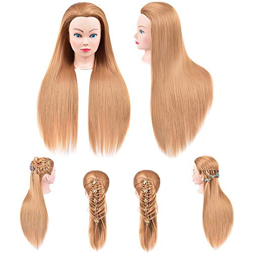 Mannequin Head Hair 26-28inch Training Head Hair Styling Manikin Head Model Cosmetology Doll Head Synthetic Fiber Hair with Adjustable Stand for Styling Dye Cutting Braiding Practice