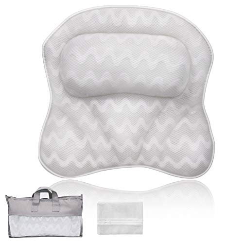 Bath Pillows For Tub, Premium 3D Mesh Breathable Bathtub Pillow, Ergonomic Comfort Spa Bath Pillows For Tub Neck And Back Support, Bath Accessories For Women & Men With Powerful Suction Cups, White