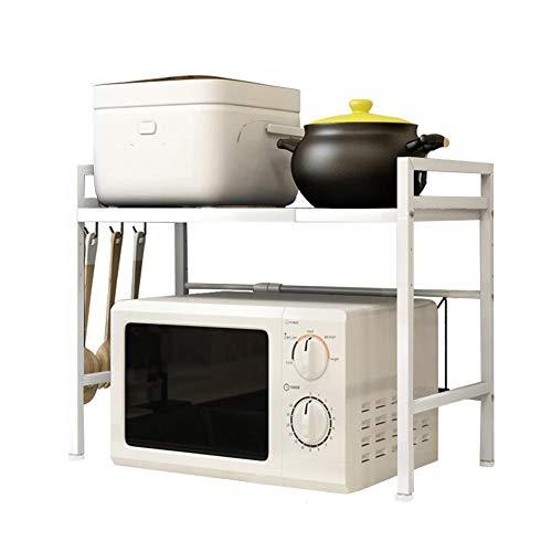 Rétractable micro-ondes rack de cuisine étagère Organisateur Lisser en acier au carbone micro-ondes plateau (Color : White)