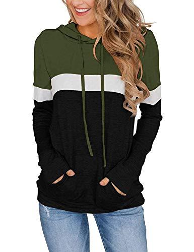 Nekosi Damen lässig Langarm Kordelzug Pullover Sweatshirt Farbe Block Hoodie Tops mit Front Känguru Tasche Armee grün groß
