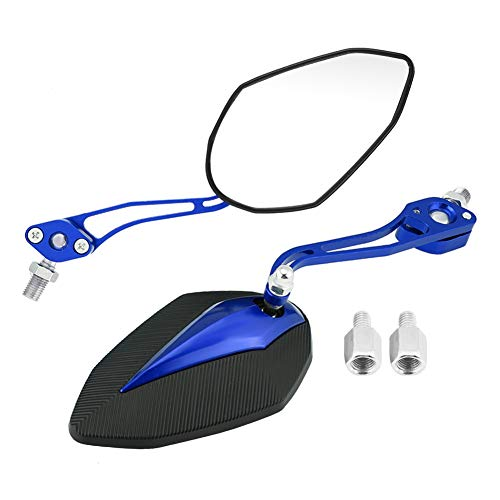 Qiilu Une Paire de 8mm 10mm Universel Moto Scooter Moto Rétroviseur Miroir Rétroviseurs Latéraux(Bleu)