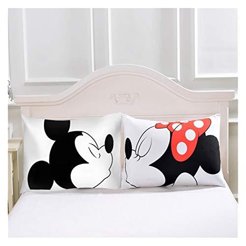 Hjdmcwd Funda de Almohada Pillowcasas Inicio Textil 2pcs Pareja Blanco Cojín de cojín Funda de Almohada Decorativa Sala de Estar 50x75cm (Farbe : Mickey Mouse Minnie, Größe : 50x90cm)