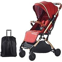 SONARIN Silla de paseo ligera y compacta,cochecito de portátil,plegable con una mano,arnés de cinco puntos,ideal para Avión(Rojo Oscuro)