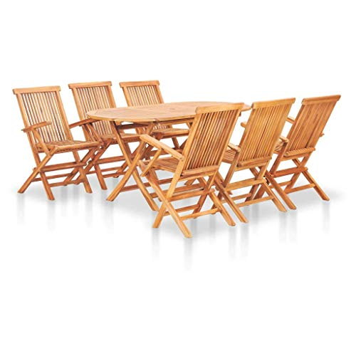 MISLD 7 Pieces Folding Outdoor Dining Set |Garden Dining Table and Chairs Set |Solid Teak Wood Furniture with Sun Shade Hole