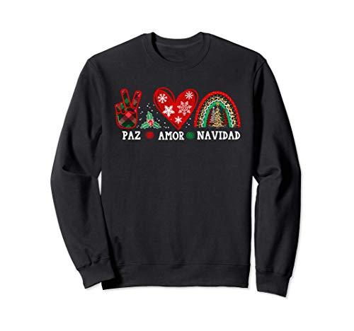 Paz Amor Navidad con arboles Bufalo a cuadros y Leopardo Sudadera