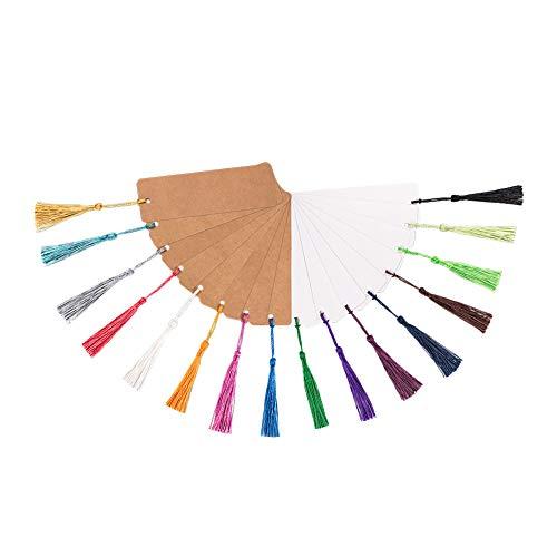 PandaHall 40pcs Carta Kraft segnalibro cartoncino cartoncino Bianco con 80 Pezzi 20 Colori Nappe per segnalibri Fai da Te Tag Regalo Artigianato