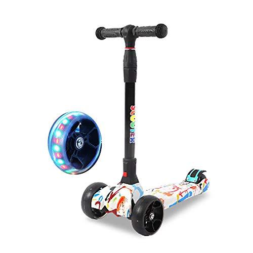 LABYSJ Patinete para Niños De 4 Ruedas, Scooter Brillantes LED Plegables, Bicicleta De Equilibrio, Patineta Ajustable En Altura, Juguetes, Regalos para Niños, Carga 50 kg,A