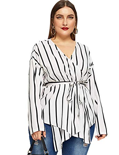 Romwe Women's Plus Elegant Stripe Print Long Sleeve Belt Work Peplum Wrap Blouse Top White 3XL