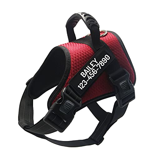 PawPawify Custom No Pull Dog Harness with Personized Name and Phone Number, Heavy Duty Pet Vest to Prevent Tugging, Pulling, or Choking, Training and Walking