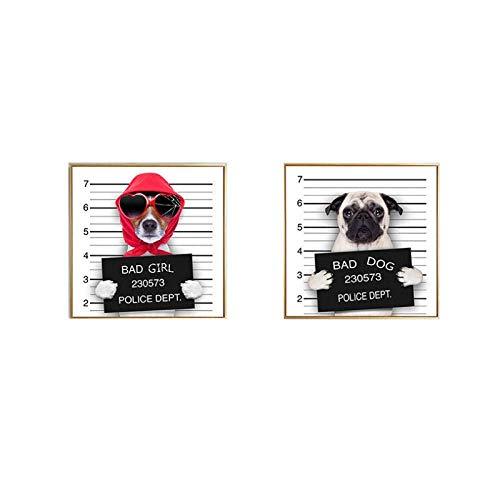 NR Arte de la Pared Impresiones de Cuadros Animal Perro policía Lienzo Decorativo Dormitorio Sala de Estar bebé habitación Cartel 60x60cmx2 sin Marco