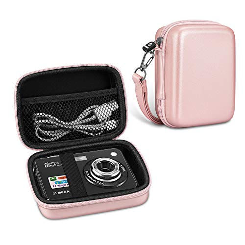 Fintie Digital Camera Case, Hard EVA Bag with Removable Strap and Inner Pocket, Compatible with AbergBest 21 Mega Pixels, Canon PowerShot ELPH 180/SX740, Sony DSCW800 Camera (Rose Gold)