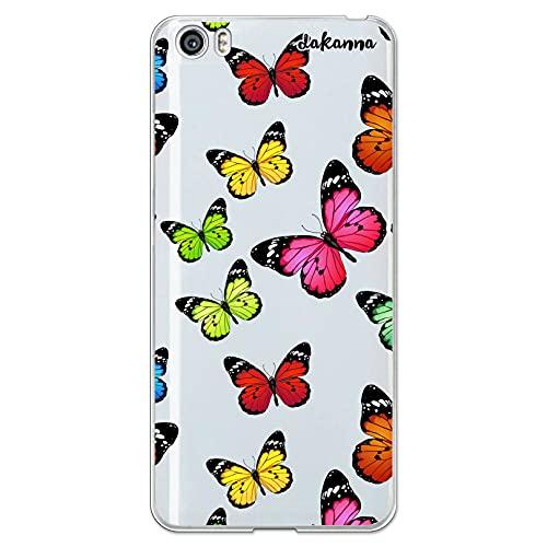 dakanna Funda Compatible con [ Xiaomi Mi5 / Mi 5 ] de Silicona Flexible, Dibujo Diseño [ Estampado de Mariposas Multicolor ], Color [Fondo Transparente] Carcasa Case Cover de Gel TPU para Smartphone