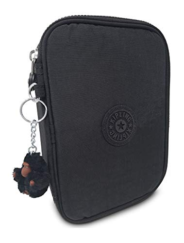 Kipling 100 Pens Pencil Case, Black Tonal, 6'L X 8.25'H X 2'D