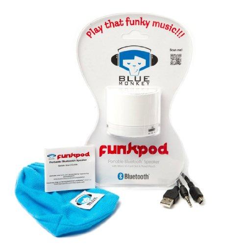 Parlante recargable portátil inalámbrico Bluetooth V.4,0 de Blue Monkey, blanco. Altavoz con...