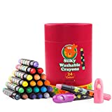 Jar Melo Washable Jumbo Crayons for Toddler -24 Colors ;Non Toxic; Twistable Gel Window Crayons;Silky Bath Crayon for kids ; Art Tools;
