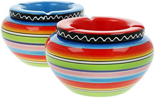 com-four 2X posacenere a Vento in Ceramica nei Colori Blu, Giallo, Verde, Rosso, ciascuno con Strisce Colorate (02 Pezzi - Ø 14 cm colorato)
