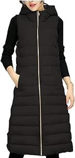 Womens Cotton Padded Casual Slim Fit Zipper Outwear Long Down Puffer Vest Jecket