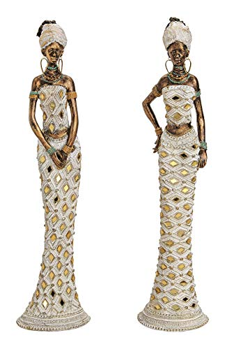 Geschenkestadl 2 Stück Dekofigur afrikanische Frau 33 cm Afrikanerin Figur