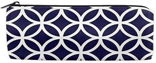 Personalizar el patrón de círculo azul marino Bolsa de lápiz cilíndrica Caja de lápices Bolsa de escritorio con cremallera Bolsa de lavado