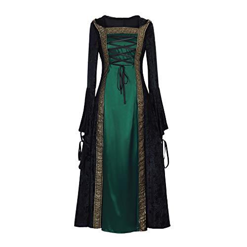 CosplayDiy Women's Medieval Renaissance Retro Gown Cosplay Costume Dress XXL Green