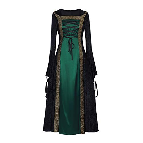 CosplayDiy Women's Medieval Renaissance Retro Gown Cosplay Costume Dress S Green