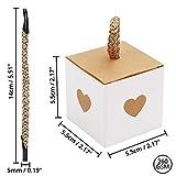 Belle Vous Kleine Geschenkboxen Weiß & Braun mit Herz (50 Stk) - 5,5 x 5,5 x 5,5cm Geschenk Schachtel Box aus Karton Kraftpapier Pappschachteln für Süßwaren, Gastgeschenke, Hochzeit, Party, Geburtstag - 2