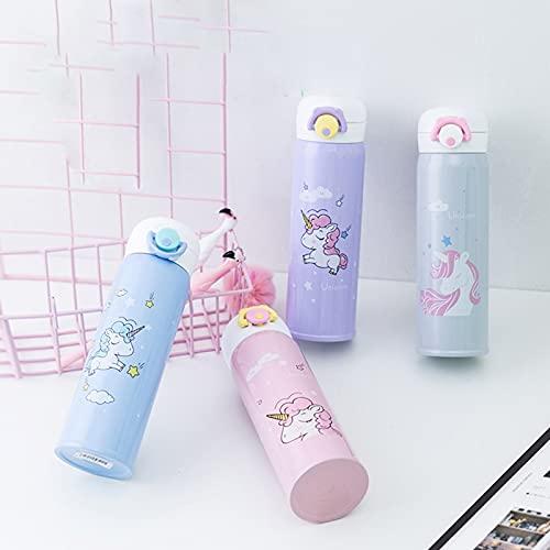 Taza de vacío con diseño de unicornio de dibujos animados, portátil, termo de acero inoxidable, capacidad de 350 ml, color: morado