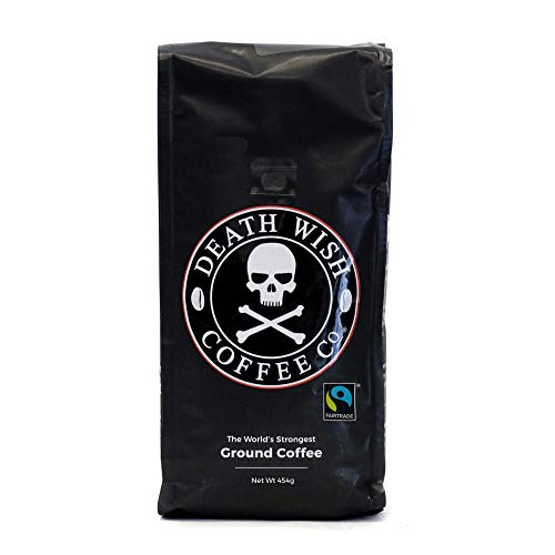 Death Wish Ground Coffee, The World's Strongest Coffee, Fair Trade and USDA Certified Organic, 16 Ounce