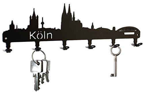 steelprint.de Schlüsselbrett/Hakenleiste * Skyline Köln * - Schlüsselboard Nordrhein-Westfalen, Schlüsselleiste, Metall - 6 Haken