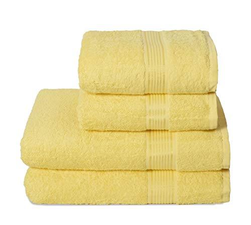 GLAMBURG Juego de 4 Toallas Ultra Suaves, de algodón, Contiene 2 Toallas de baño de 70 x 140 cm, 2 Toallas de Mano de 50 x 90 cm, Uso Diario, Compacto y Ligero, Color Amarillo