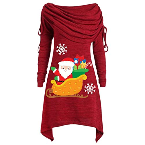 BOLANQ Weihnachtsbluse Plus Size Womens Fashion Solid Geraffte Lange Foldover Kragen Tunika Top Bluse Tops(Large,Rot)
