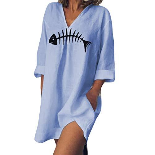 MRULIC Damen Lose Langarm Pullover Beiläufige Fishbone Printed V-Ausschnitt Langarm Sommerkleid mit Taschen Dünnes Oberteil