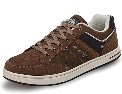 AX BOXING Sneakers Hombre Zapatos Casual Zapatillas Moda Ligero Deporte Gimnasio Running Tamaño 41-46 (1018MarróN, Numeric_46)