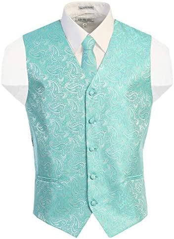 Gioberti Men s Formal 4pc Paisley Vest Necktie Bowtie and Pocket Square Mint Small product image