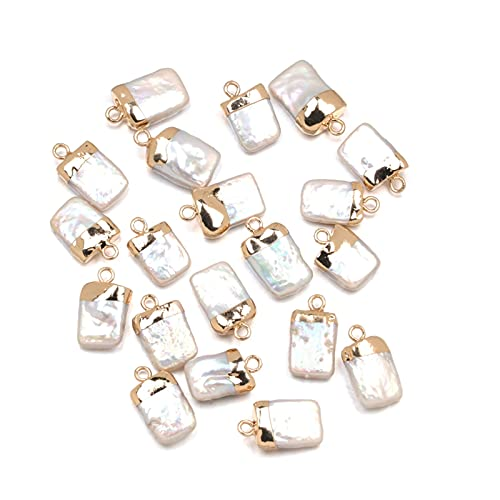 New Cute Charms Natural Freshwater Pearl Pendants Square Shape Charms for Jewelry Making DIY Accessories Fit Necklaces 10x18mm Vintage Palace Luxury Palace Handmade Art