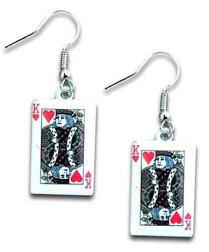 Rode Koning van Harten Poker Speelkaarten Dangle Oorbellen door Pashal