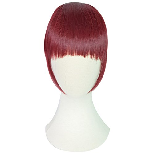 REECHO Fashion Full Length Synthetic 1 Piece Layered Clip in Hair Bangs Fringe Hairpieces Hair Extensions Color - Wine Red