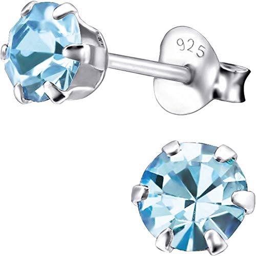 EYS JEWELRY Ohrstecker Damen rund 925 Sterling Silber Zirkonia aquamarin-blau Damen-Ohrringe