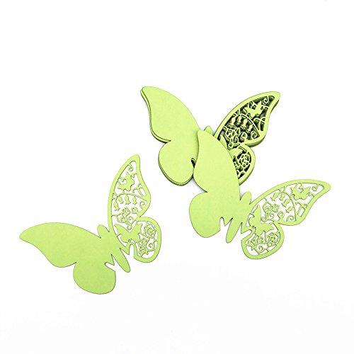 ElecMotive 100 Pcs Schmetterling Trichterwinde Tischkarten Namenskarten Glasanhänger Wandsticker für Tischdeko Hochzeit Party Haus Deco (Matcha Grün)