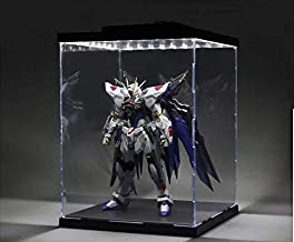 HDR Gloss White LED Acrylic Dust-Proof Display Case/ 360 Showcase for Action Figures/Gundam/Toys/Collectibles ((7.8 X 7.8 X 7.9 in)