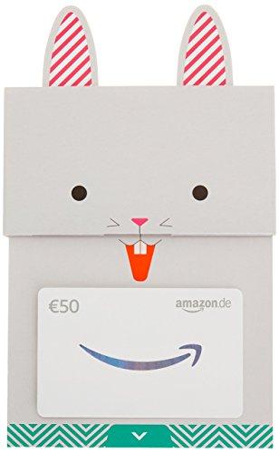 Amazon.de Geschenkkarte in Geschenkschuber- 50 EUR (Glücklicher Hase)