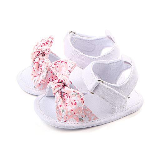 MOLUO Zapato 1 par de niños bebés niños niños niñas Zapatos Antideslizantes Bowknot de Lona niños pequeños Sandalias recién Nacidos en 7-12 Meses
