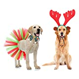 Dog Christmas Costume - Xmas Reindeer Headband and Collar Scarf, Cute Christmas Party Accessories Pet Costume Headwear Set for Dogs & Cats