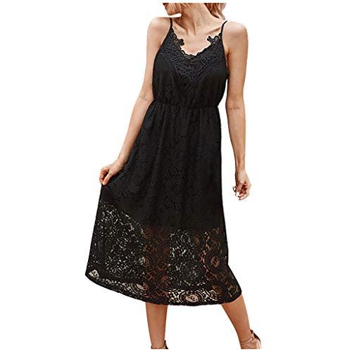 Routinfly - Vestido de noche para mujer, cuello en V, manga larga, sexy, vestido de encaje sin marcas, vestido de cóctel, elegante, para playa o fiesta Negro XL
