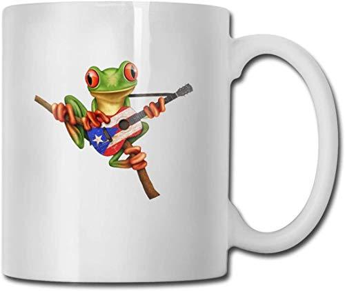 Boomkikker spelen Puerto Rico Vlag Gitaar Grappige Koffie Mok Koele Koffie Thee Cup 11 Ounces Perfect cadeau voor familie en vriend